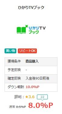 ひかりTVブックモッピー8%1