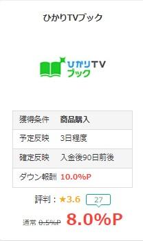 ひかりTVブックモッピー還元8%1