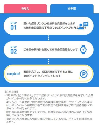 カリトケ(KARITOKE)ご紹介キャンペーン1